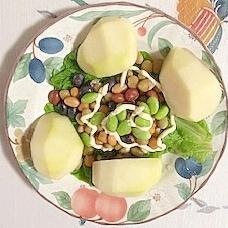 蒸しまめに、枝豆、ラ・フランス