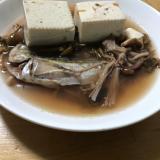 ハタハタと豆腐のキノコスープ