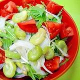 そら豆と新玉ねぎ水菜の和風サラダ