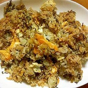 半熟目玉焼き辛子高菜チャーハン(ケチャップマヨ味)