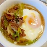 牛肉と長葱の温うどん(卵入り)