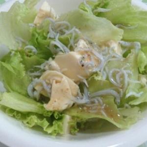レタスと豆腐としらすのサラダ