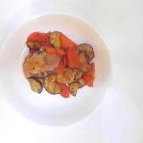 鶏肉、茄子、人参のステーキソース炒め