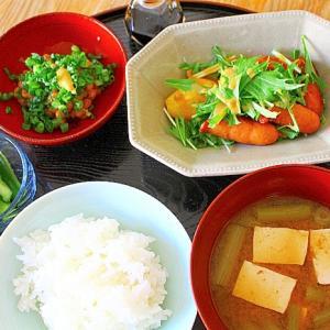 水菜と揚げジャガのサラダ