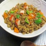 レンズ豆とカニカマのカレーコンソメ煮