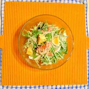 水菜と茹で卵のサラダ♪