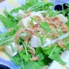 梅しそポンで!水菜と豆腐のサラダ