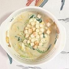 玉葱、チンゲン菜の豆乳スープ