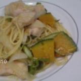 鶏胸肉とカボチャと玉葱とアスパラガスのスパ