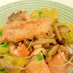 鮭とじゃがいもの味噌炒め