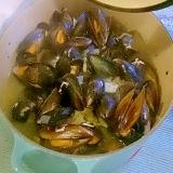 ムール貝とチコリのタイムワイン蒸し