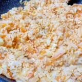 キャベツの芯入り、キムチと納豆のチャーハン