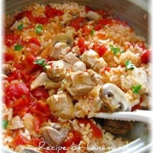 鶏肉とホールトマトの土鍋でふっくら煮込みピラフ