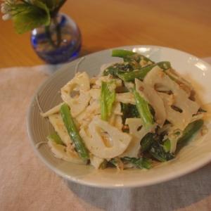 小松菜とれんこんの胡桃マヨ和え