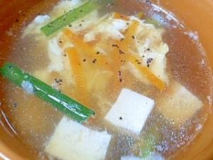 豆腐と家にある野菜でかきたま中華スープ