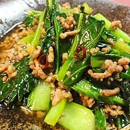 小松菜と挽肉の炒め物