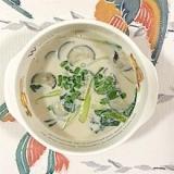 茄子、チンゲン菜、黒キャベツの豆乳スープ