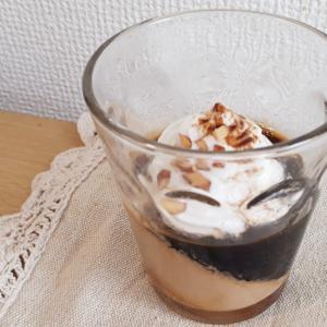 カフェオレとコーヒーのななめゼリー