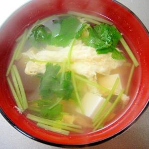 豆腐と三つ葉のかき玉汁