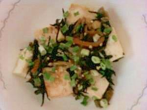 焼き豆腐のひじき和え