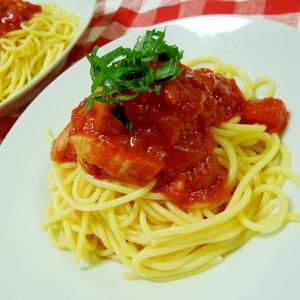 トマト缶で♪冷製トマトとベーコンのスパゲティ