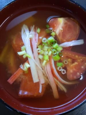 トマトとカニカマのお味噌汁(^^)