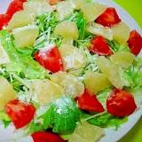 グレープフルーツと水菜レタストマトのサラダ