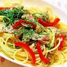 みず菜とアサリ水煮の簡単ボンゴレ