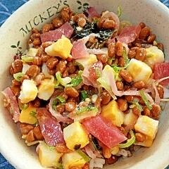 納豆の食べ方-錦玉子&漬物♪