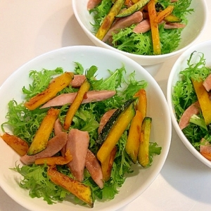 やみつき☆わさび菜と焼きソーセージの簡単サラダ