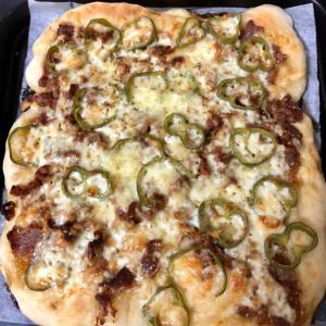 韓国風♪豚肉とピーマンのピザパン