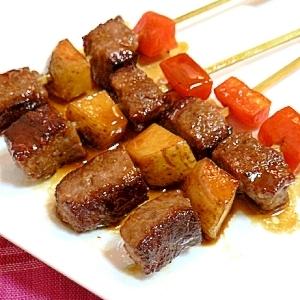 サイコロステーキの肉じゃが串