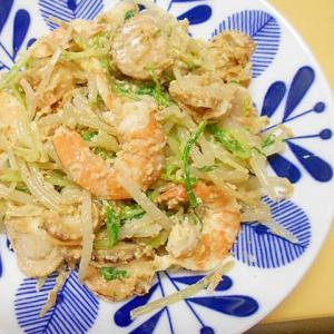 ベビーホタテ・エビ・もやし・水菜のマヨ胡麻サラダ