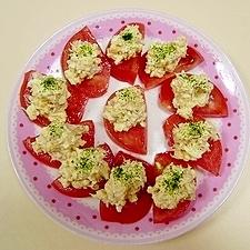 トマトと卵とツナの一口サラダ