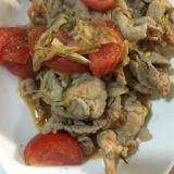 豚肉のミョウガ・トマト炒め