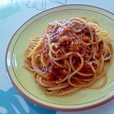 ドライカレーリメイク!ミートソーススパゲッティ++