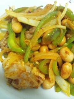 牛肉と大豆のカレー炒め