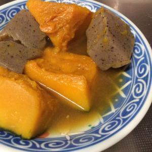 唐辛子入りこんにゃくとレンチンかぼちゃの煮物