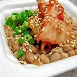 生レバー風?!ごま油×塩のキムチ納豆♪