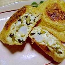 辛子高菜入り★豆腐とタタキ山芋の油揚げの包み焼き