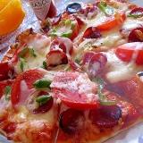 とろ~り♪トマトとサラミのたっぷりチーズピザ☆