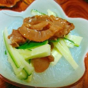 ホタテ佃煮とキュウリの春雨サラダ