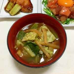 細切り大根と縮みキャベツと小松菜の赤だし味噌汁♡