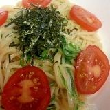 味付けは簡単に水菜でシャキシャキたらこスパゲッティ