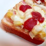 ベーコン・白菜・コーン・チーズのミニトースト