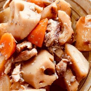 根菜(大根、人参、蓮根)の煮物★サバ缶が出汁がわり