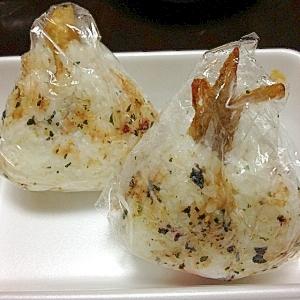 少し残った牛蒡の天ぷらでおにぎり