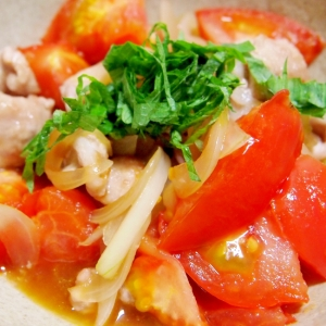 トマトと新玉ねぎと豚肉のめんつゆ炒め
