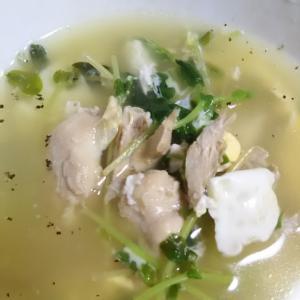 豆苗と鶏もも肉の卵スープ(^^)