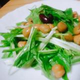 水菜とミックスビーンズのサラダ